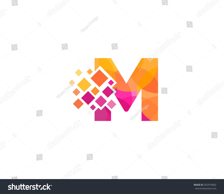 m letter pixel multiply colorful logo design template