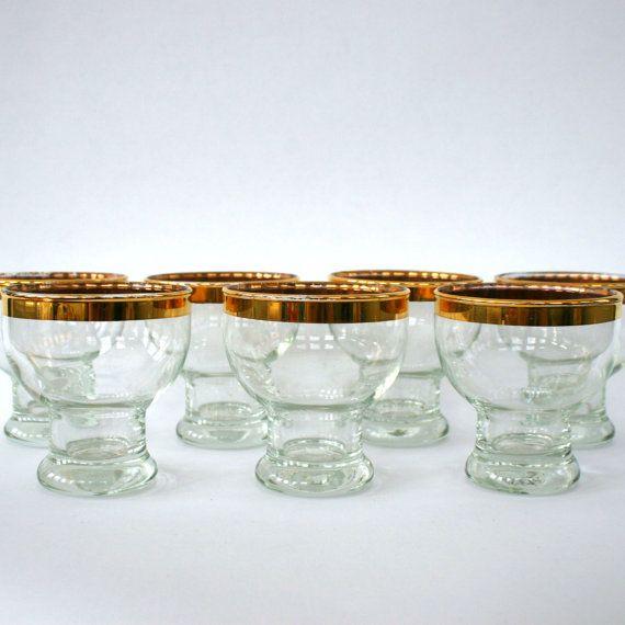 Gold Rimmed Barware Holiday Table Shot Glasses by RhapsodyAttic on Etsy, $48.00