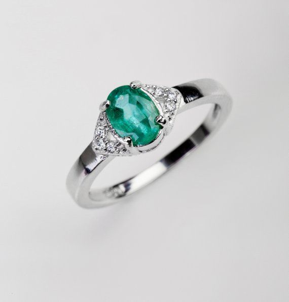 Natural emerald ring for women, silver 14K white gold ring, green