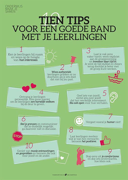 10 tips voor een goede band met je leerlingen. | Posters