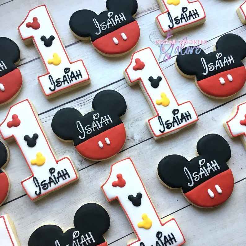 2 or 4 dozen mouse 1st birthday sugar cookies . Personalized Mouse sugar cookies . Mickey Mouse cookie favors . Mickey Mouse