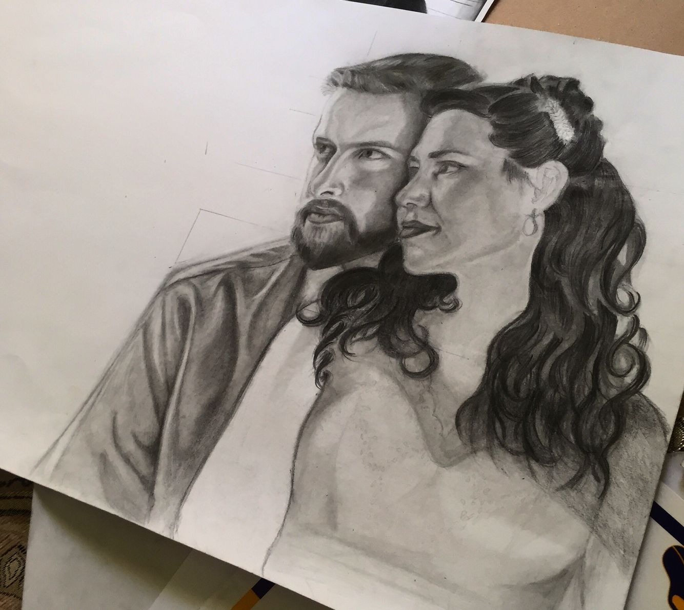 Painting art pencil black and white process love couple