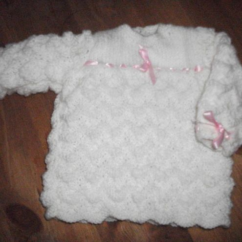 Hand Knitted White Dress - Folksy