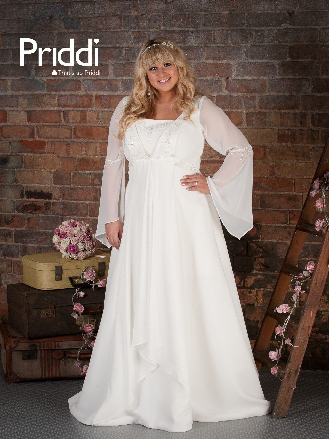 Plus size wedding dress with long sleeves Renaissance