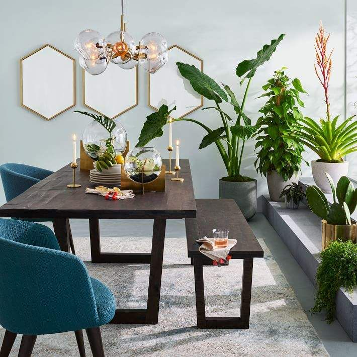 Metal Framed Hexagon Mirror Ad Expandable Dining Table