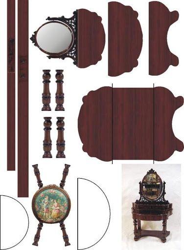 Maquetas de un dormitorio de casas de mu ecas recortables for Muebles para armar en casa