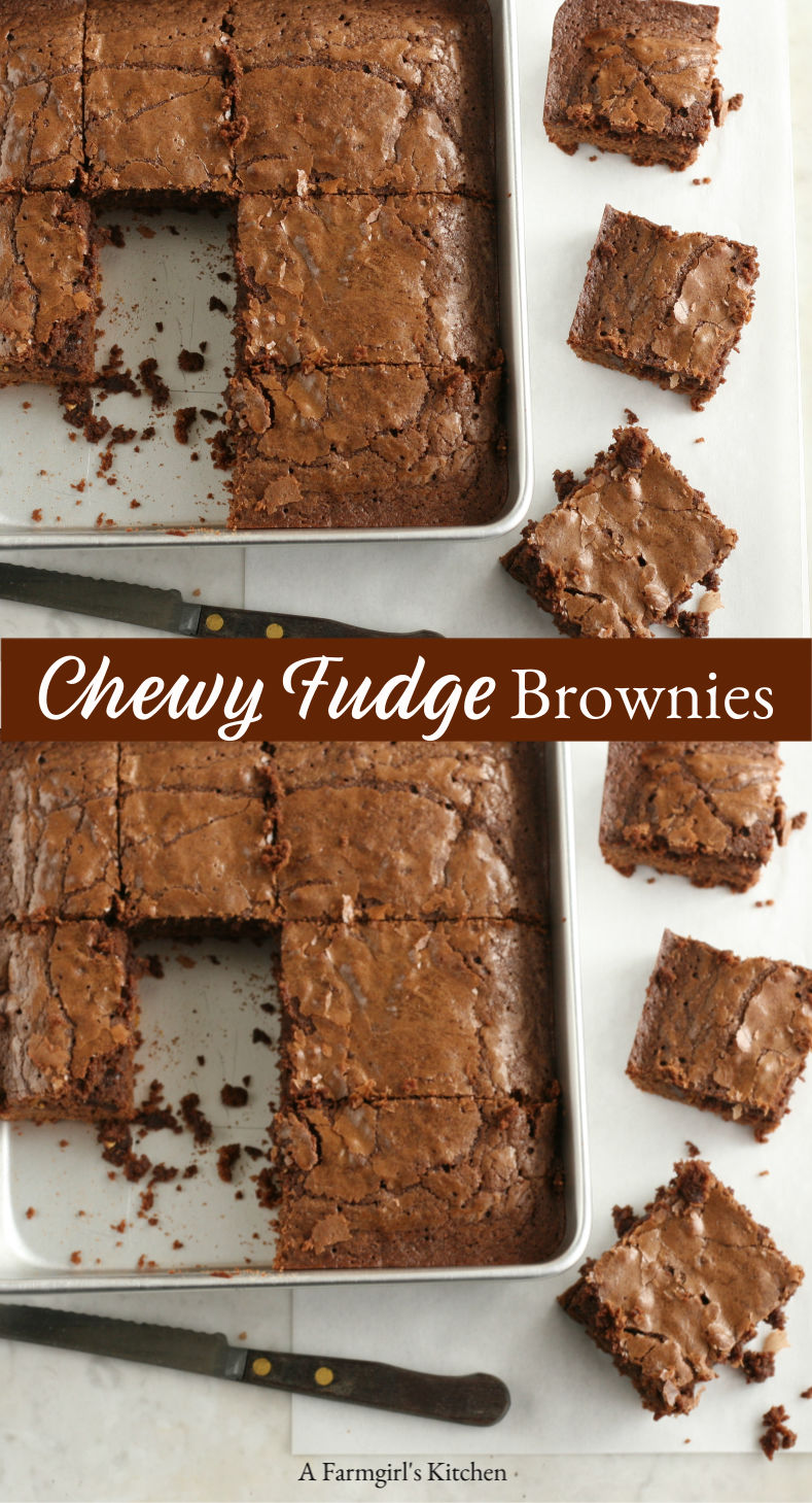 Chewy Fudge Brownies with a glossy flaky top are easy to make! So easy to make and delicious! You'l