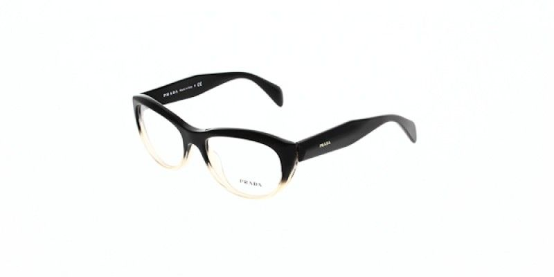 Prada Glasses PR 01QV QFJ1O1 52 is a black frame and is designed for ...