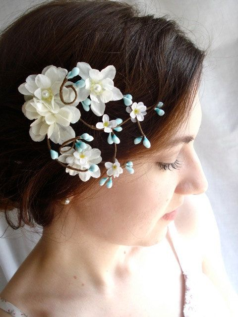 Teal blue flower hair accessory aqua blue bridal hairpiece robins teal blue flower hair accessory aqua blue bridal hairpiece robins egg white bridal mightylinksfo