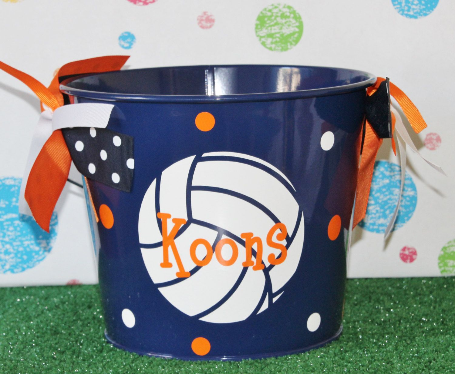 Personalized volleyball easter basket pail monogram easter basket personalized volleyball easter basket pail monogram easter basket metal easter bunny basket pail sports theme easter basket team gift negle Choice Image