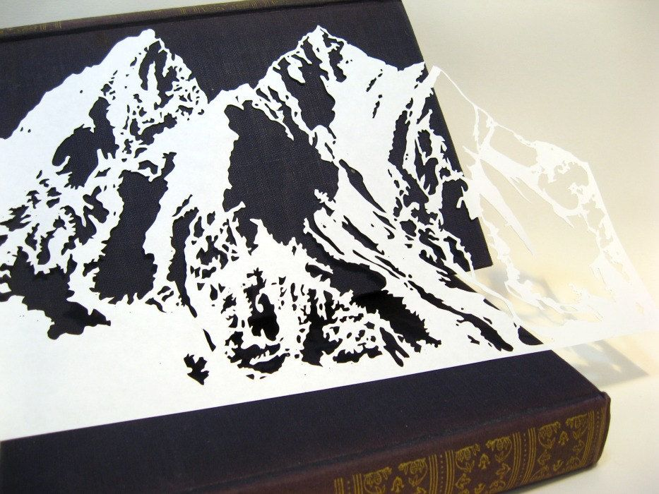 Mountain Range Scherenschnitte Paper-Cut in White. Uh, should I just ...