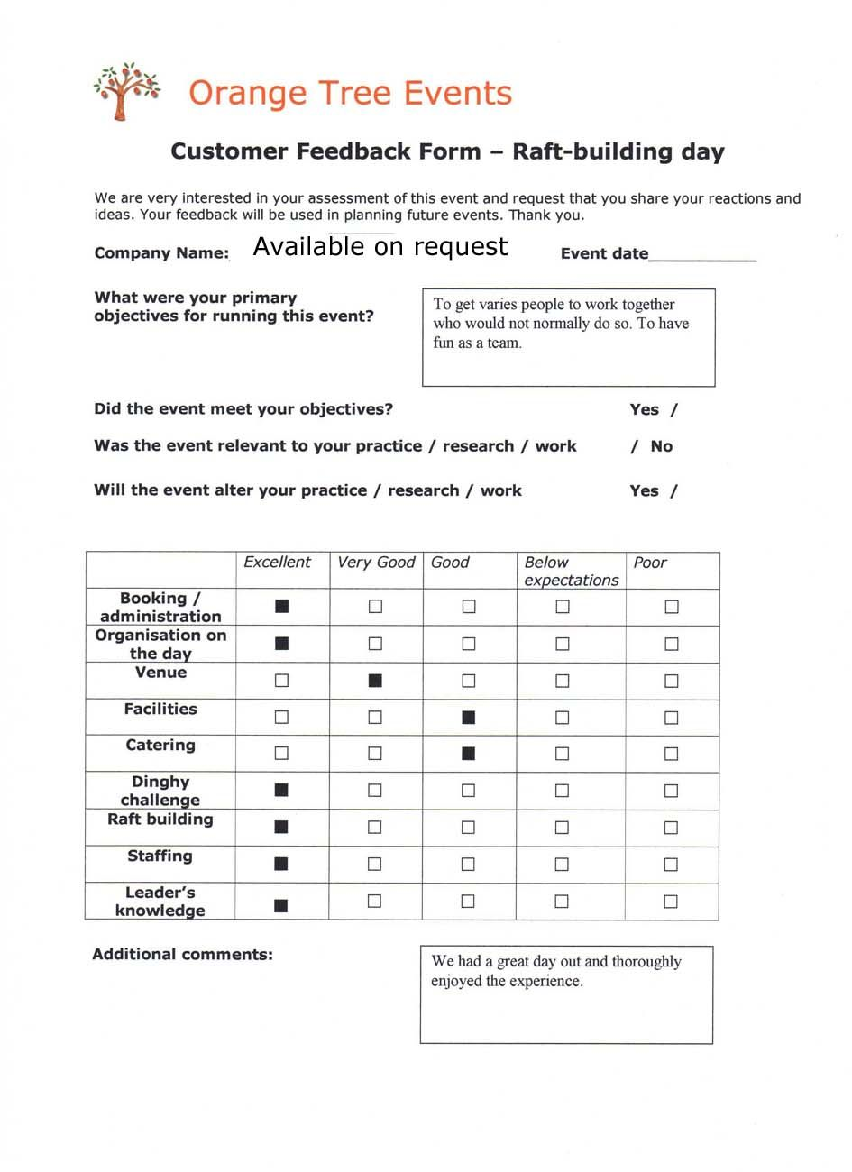 Event Feedback Form Template Customer Checklist Examples