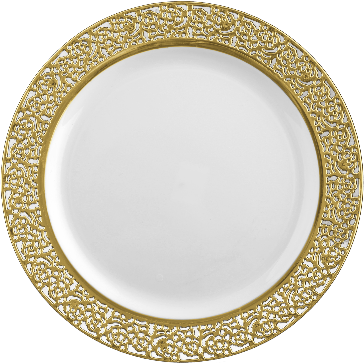 White with Gold Lace Plastic Tableware Package | Corporate events ...