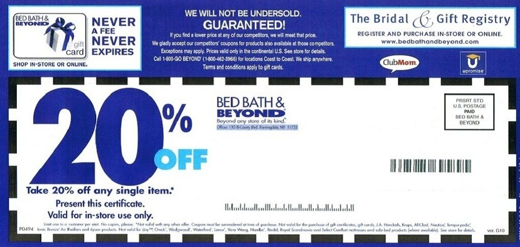 Bed Bath And Beyond Coupon 20 Off Free Printable Coupons