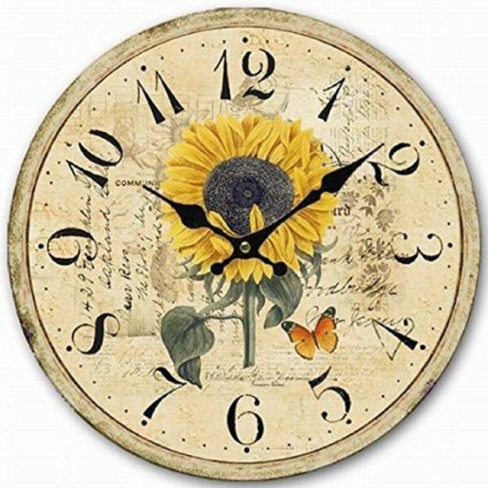 14 Inch Sunflower Wall Clock,Swonda Silent Printed Wood Clock for ...