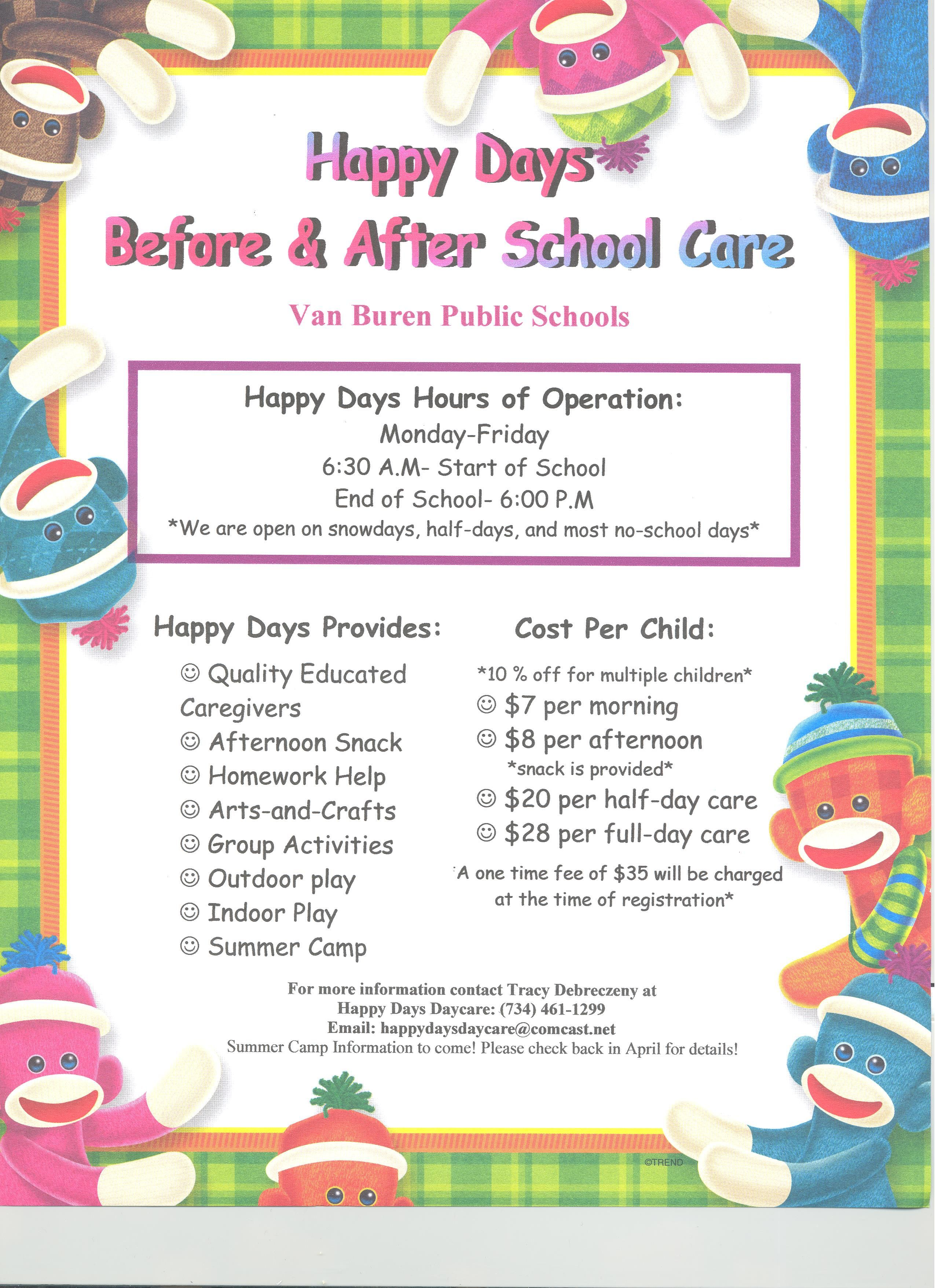 Please See The Happy Days Day Care Flyer