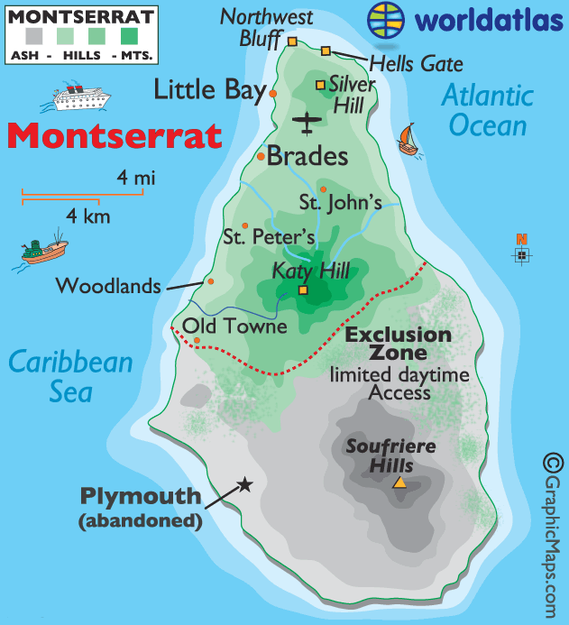 Map of Montserrat a British oversea territory in the Caribbean Sea