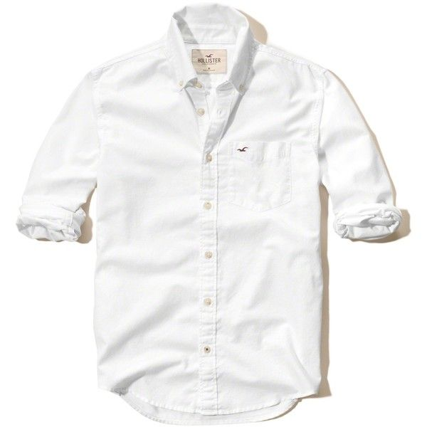 8c16eb09 Hollister Solid Oxford Shirt (11 BHD) ❤ liked on Polyvore featuring men's  fashion, men's clothing, men's shirts, men's casual shirts, white, mens slim  fit ...