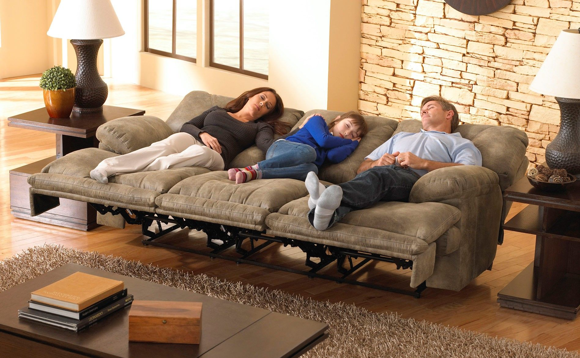 Montana Lay Flat Triple Reclining Sofa W Drop Down Table
