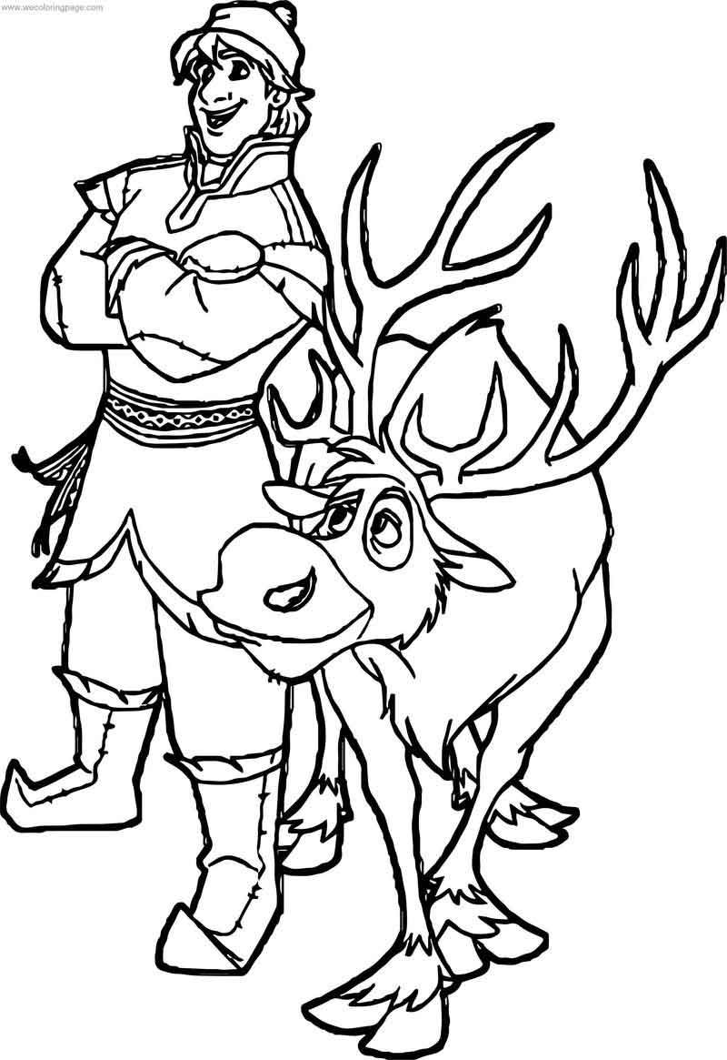 Kristoff Sven Deer Coloring Page