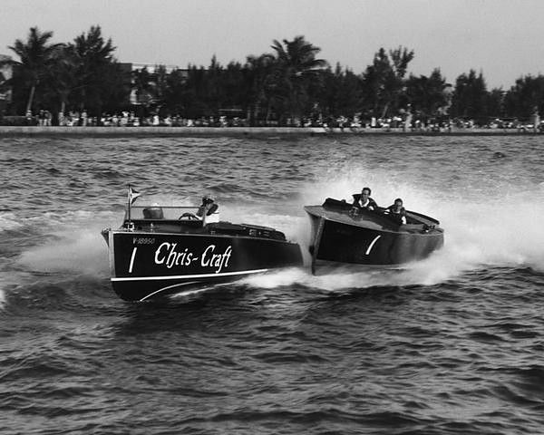 CHRIS CRAFT, #1, and BABY GAR, Biscayne Bay Regatta, Miami, 1930. The 22' Chris-Craft Corporation runabout CHRIS CRAFT #1 (built 1930 in Algonac, MI) and 22' Gar Wood Boat Company runabout BABY GAR #1 (built 1930 in Algonac, MI) at Miami Beach Races in Miami, FL. Classic Chris Craft wood boats
