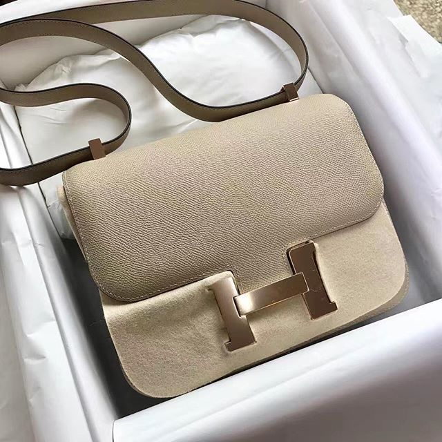 c7662e7a720 Hermès Constance 24, trench color, epsom leather with light rose golden  hardware. 爱马仕