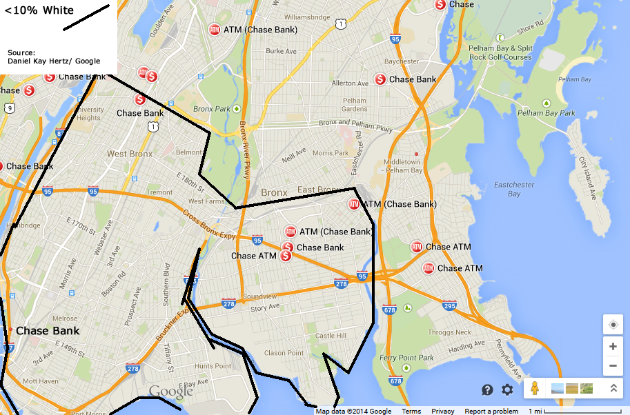 Chase Bank locations in a <10% White area of The Bronx (Map ... on