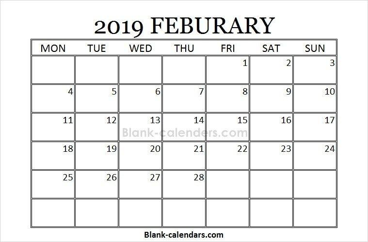 Blank Printable February Calendar 2019 2019 Calendar Pinterest