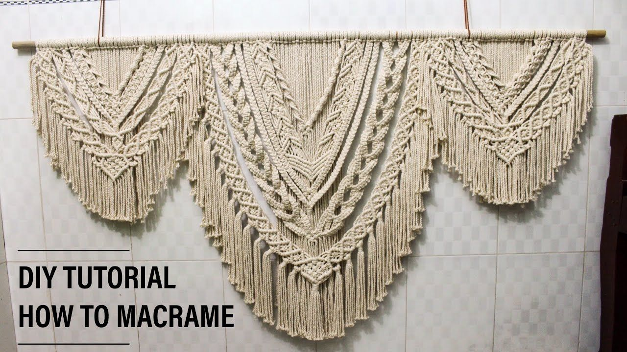 DIY Large Macrame Wall Hanging, Basic Knots Step by Step tutorial by TNARTNCRAFTS