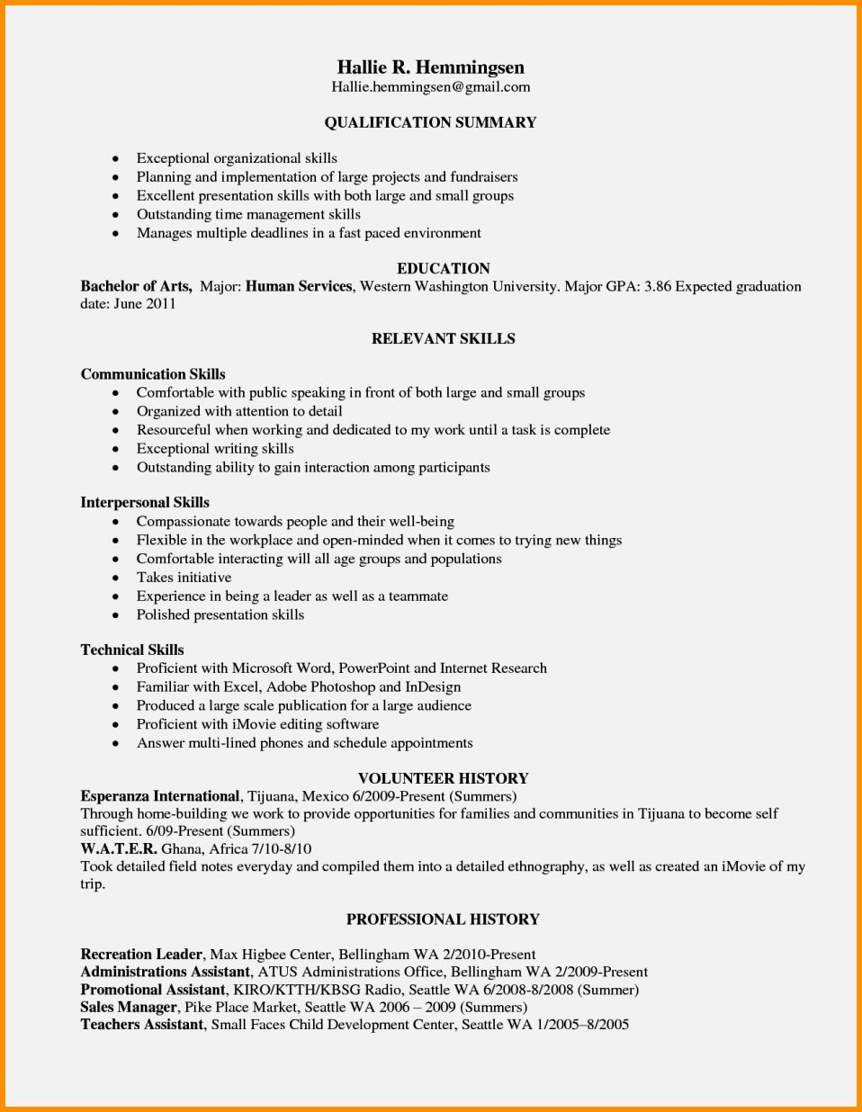 Example Of Resume Skills Resume Template Cover Letter Di 2020