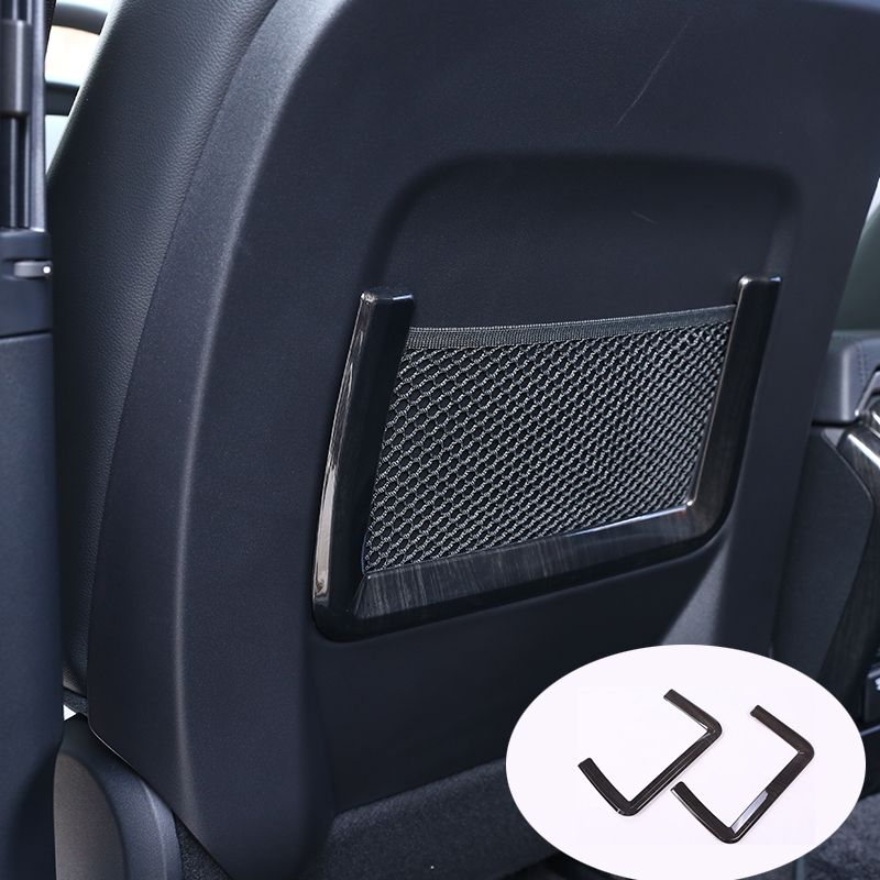 2pcs Dark wood grain Car Seat Storage Net Bag Trim For