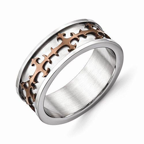 Bridal Stainless Steel Brown IP-Plated Crosses Ring