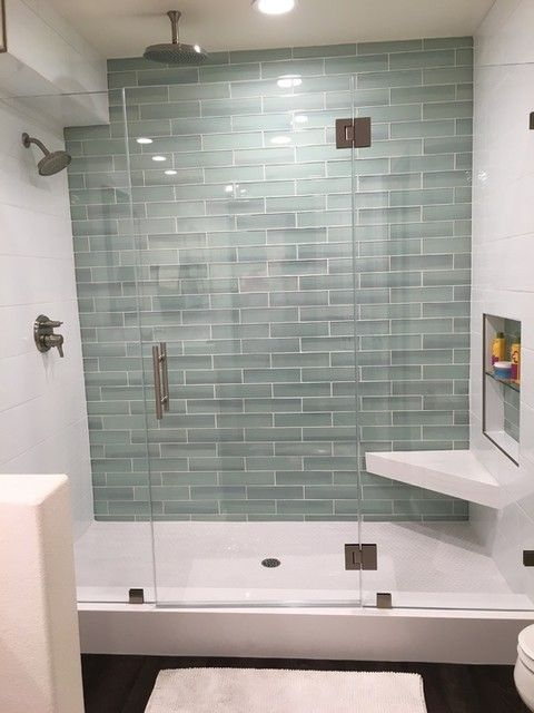 Hall blanco ceramic wall tile 8 x 20 new haven glass for Glass tile bathroom designs
