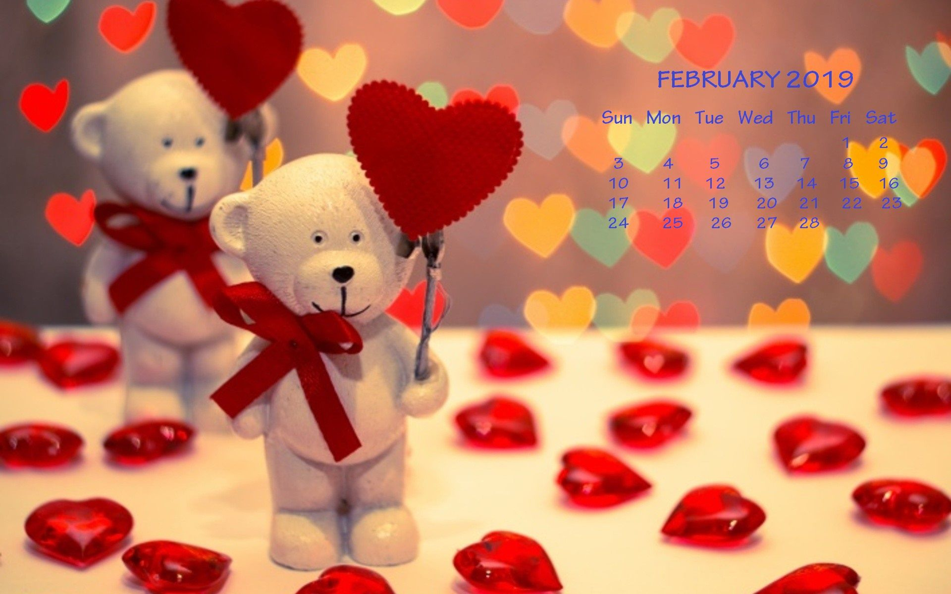 Valentines Day Wallpaper With Calendar Feb month 2019