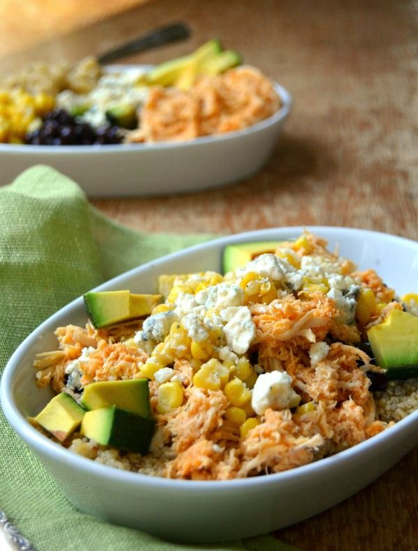 Buffalo Chicken Bowls are a delicious healthy dinner! These bowls are so easy to make and loaded with good for you protein, fats and carbs!