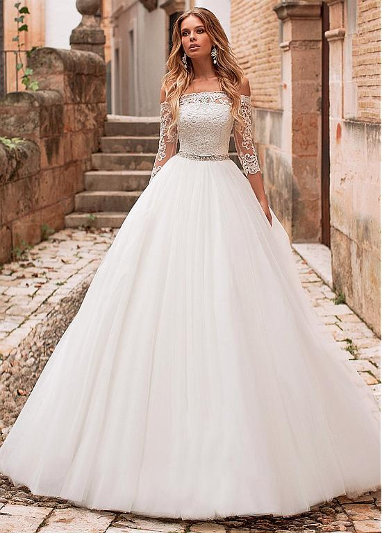 Photo of [198.80] Marvelous Tulle Off-the-shoulder Neckline A-line Wedding Dress With Belt & Detachable Jacket – magbridal.com.cn