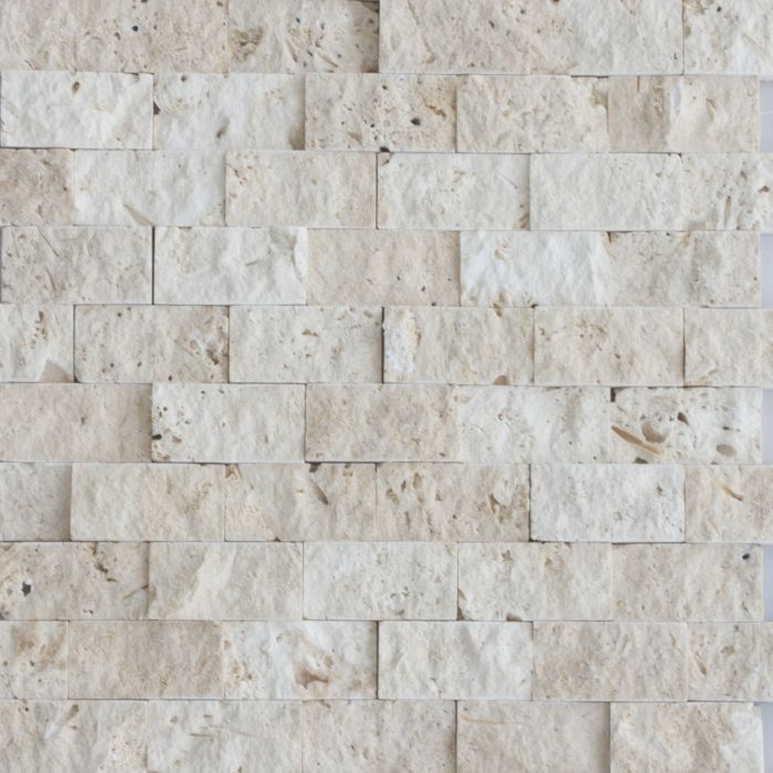 Beige Travertine Stacked Stone Mosaic Tile Travertine Split Face