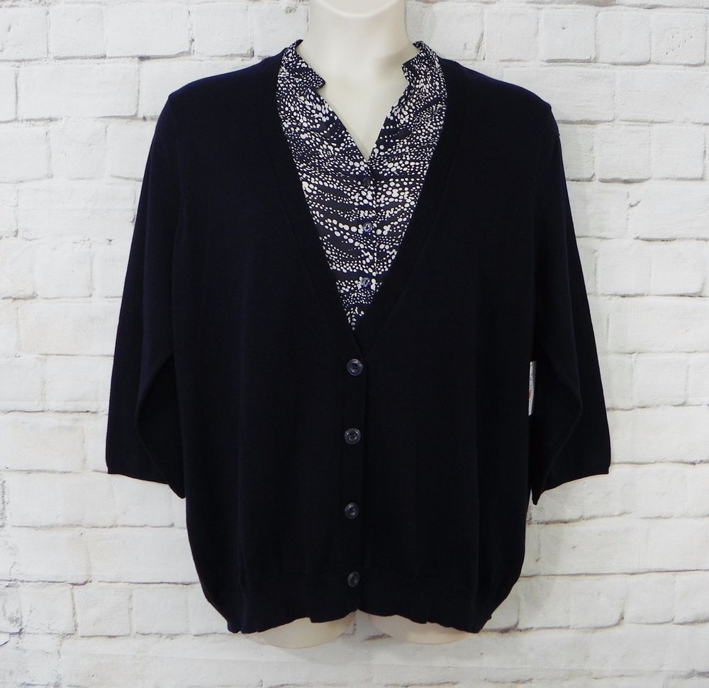 NEW Womens SAG HARBOR Navy Chiffon Dot Chest Faux Button Front ...