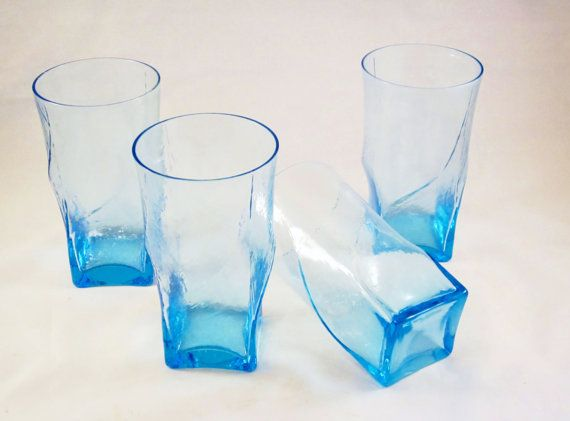 Vintage Drinking Glasses Colored Glass Modern Square By Rearcade Vintage Drinking Glasses Modern Square Glass