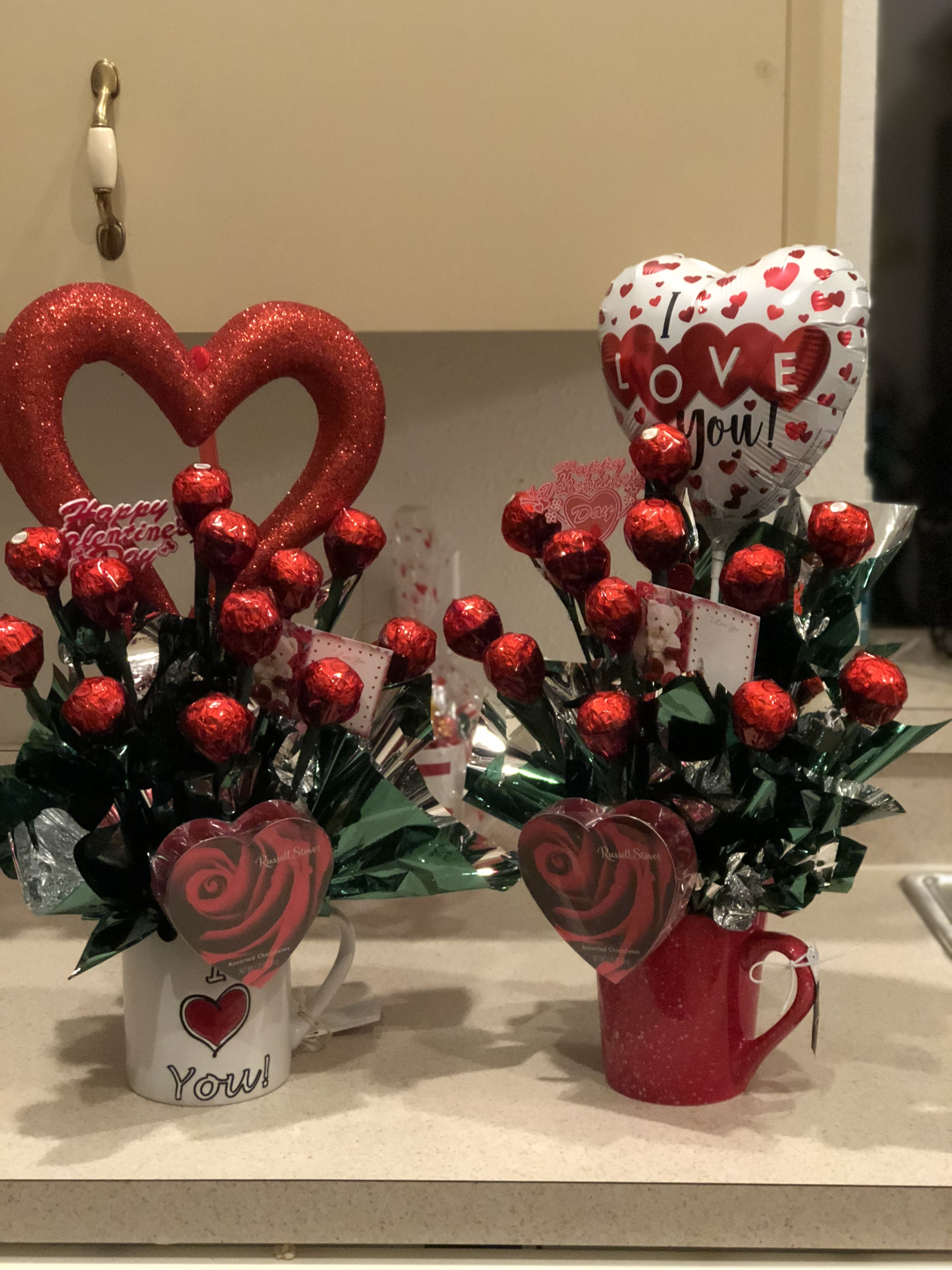 Valentines Day Arrangement With Ferrero Roche Chocolate In A Cup