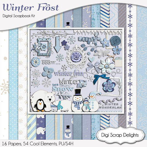 #Blue Winter Frost Digital Scrapbook Kit by DigiScrapDelights Snowmen, polar bears clip art