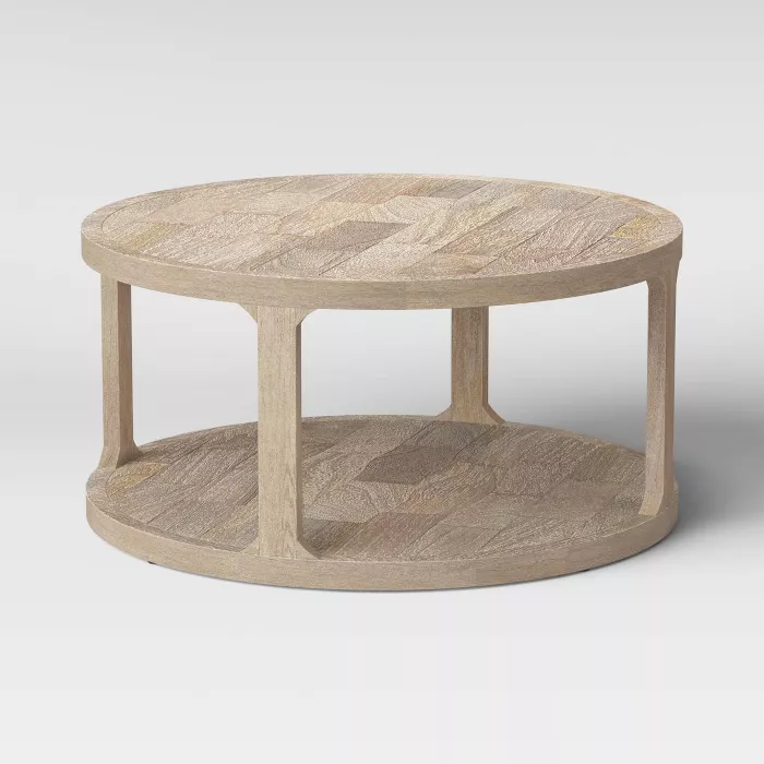 Castalia Round Natural Wood Coffee Table Threshold In 2020