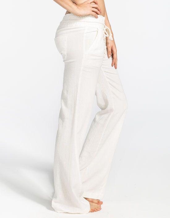 84cd7a60b9 Roxy white linen pants | Stitch Fix Ideas | Pants, Beach pants ...