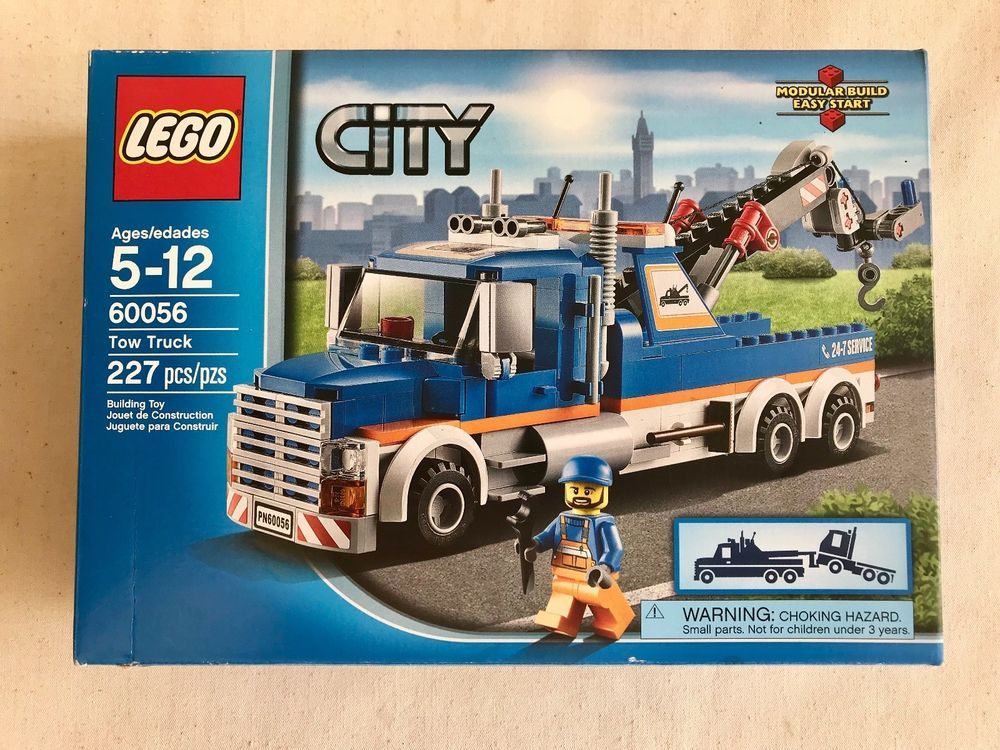 Lego City Tow Set Wrecker 227 Pieces 60056 Retired Mint Factory Sealed Tow Truck Lego Truck Lego City Truck