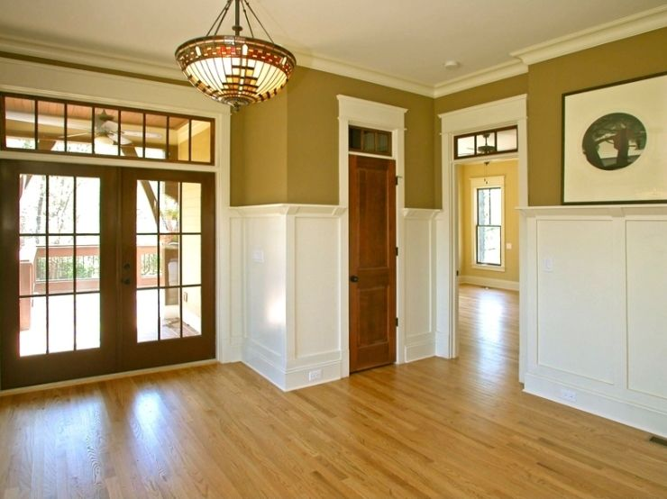 Craftsman plate rail wainscoting with corbel detail for Stained or painted trim