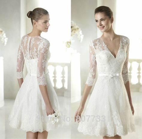 W057 New Arrival applique lace 3 4 sleeve V-Neck sexy short wedding dresses