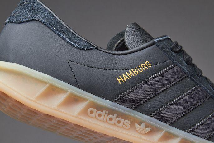adidas originals hamburg black gum sole trainers