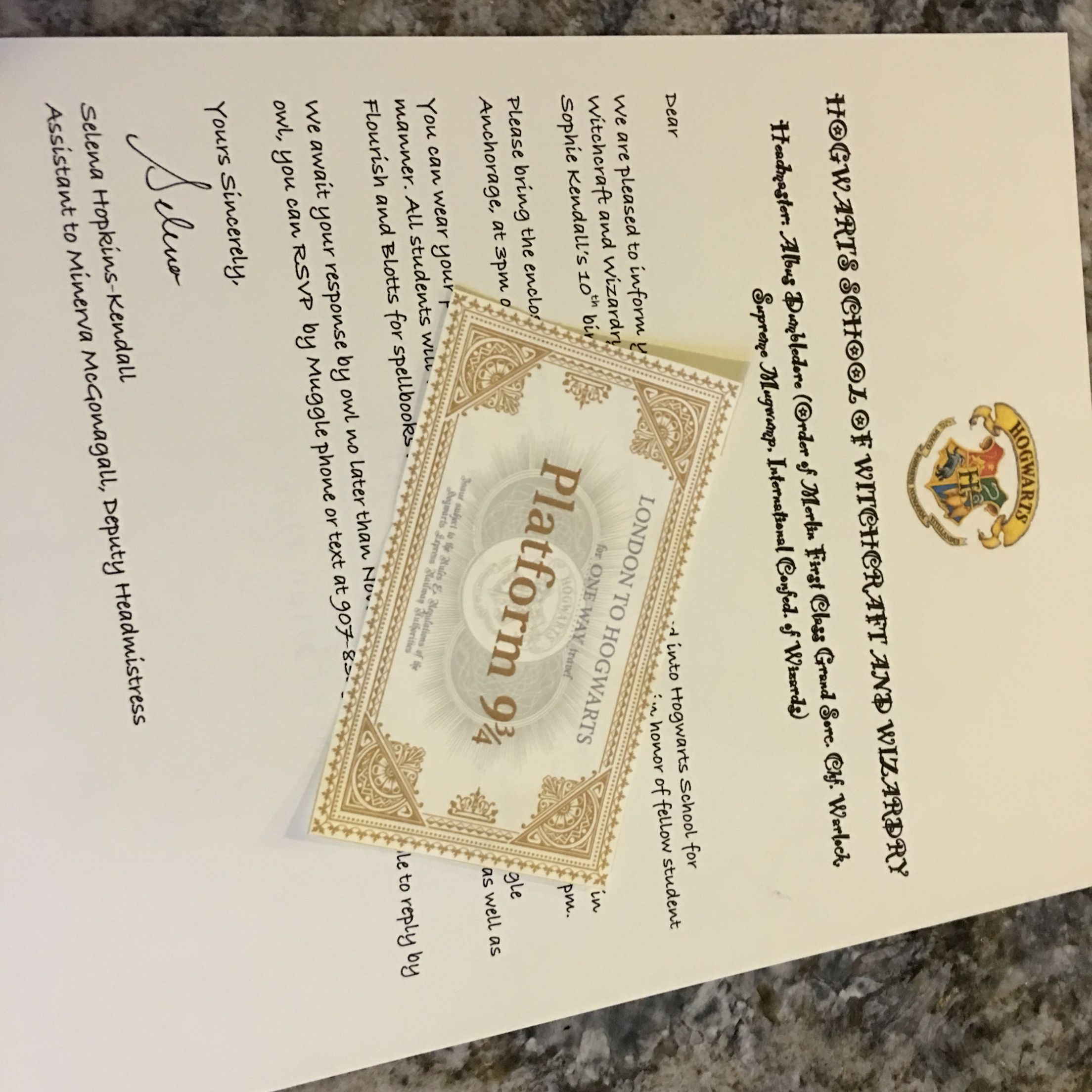 Hogwarts acceptance letters & train tickets - invitations to Sophie's birthday party!
