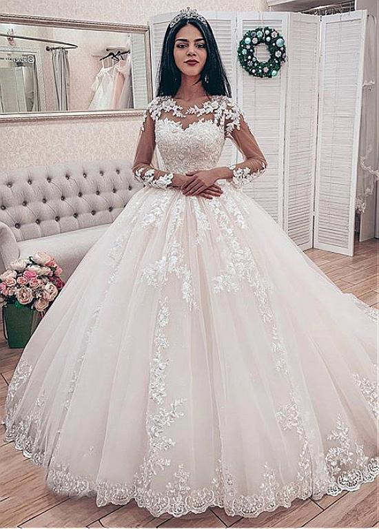 540272e735 Magbridal Fabulous Tulle Jewel Neckline Ball Gown Wedding Dresses With  Beaded Lace Appliques