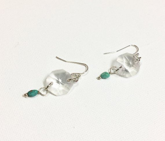 Vintage Chandelier Crystal Earrings Turquoise Drop Etsy